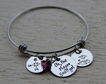 Personalized Oh the Places You'll Go Graduation Bracelet - Hand Stamped Jewelry - Dr. Suess Quote - Senior Graduation Gift 2017 -Grad Bangle
