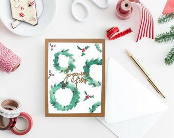 Painted Christmas card handmade green / Christmas greeting card watercolor / greeting card festive /Joyeuses holidays / Christmas Wreath / /Poinsettia Christmas gift