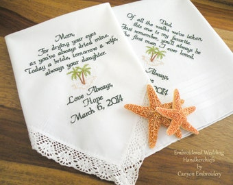 Mom & Dad, Wedding Gift, Monogram, Embroidered, Wedding Handkerchief, by Canyon Embroidery