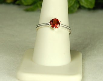 Garnet Ring, Size 9, Clear Red Sparkle, Natural Garnet, Sterling Silver, January Birthstone, Garnet Solitaire, Red Garnet Ring