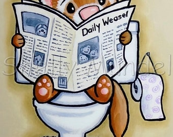 Potty Painting - Reading - Ferret Art Print - by Shelly Mundel