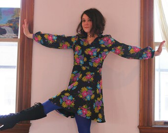Vintage 60's Black Flower Power Party Dress