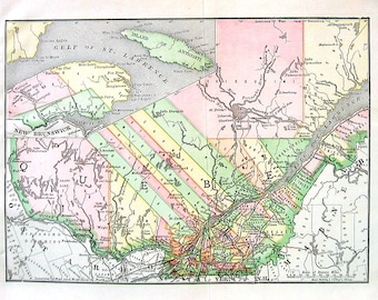 Map of Quebec, Canada - 1890 Antique Map - Antique Encyclopedia Book Page