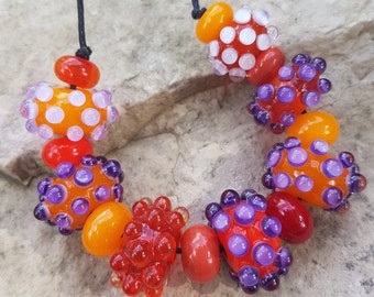 Handmade lampwork glass 7 beads set + 8 spacer beads, Lampwork beads sra, orange beads set, jewelry supplies jewelry making lampwork beads