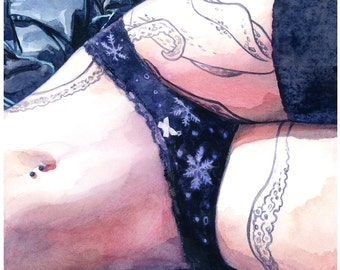 """Signed  """"Hot and Cold"""" Giclée Art Print by Vanessa Walsh, female form art print, Colourful Art Print, Eye Candy"""