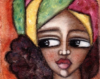 Shabby Chic Art Print// Rustic Portrait Painting// Folk Art// Decorative Art Print// Wall Art For Women// Greeting Card// Notecard