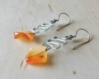 Carnelian Earrings, Orange Earrings, Sterling Silver Earrings, Gemstones Earrings, Wire Earrings,Holiday Gift, Earrings, Gift for Her