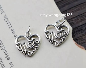 2 pcs mom heart charms pendants in oxidized 925 sterling silver, P1