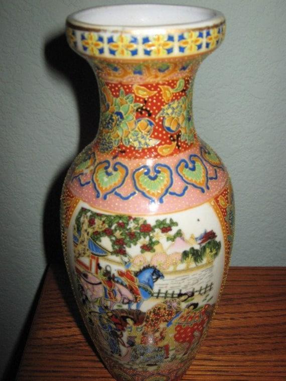 Antique Japanese Moriage Satsuma Vase