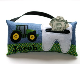 Boy's Green Tractor Personalized Tooth Fairy Pillows