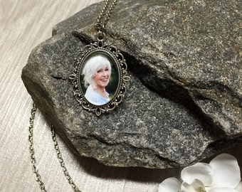 Custom Photo Necklace - Keychain - 18x25 Swirl Antique Silver - Picture Necklace - Personalized Necklace - Photo Jewelry - Gift - Keepsake