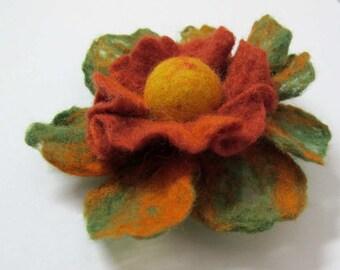 SALE SALE SALE / green/orange / yellow  felt flower brooch