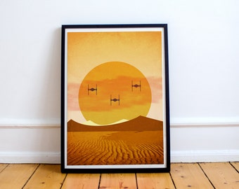 Force Awakens - Tie Fighters on Jakku - Star Wars Episode VII Minimalist Art Poster Print - (Available In Many Sizes)