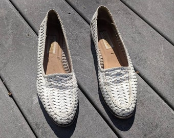 Vintage White Leather Woven Flats, 7.5