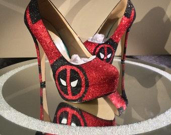 Deadpool Inspired Glitter High Heel Shoes