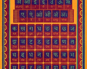 Hindi Alphabet Letterpress Poster