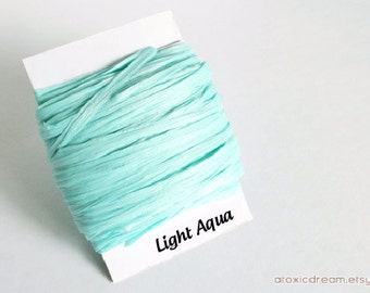Light Aqua Blue Raffia Ribbon - 30/100 yards - 1/4 inch wide