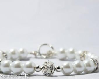 White Pearl, Rhinestone Bracelet, Bridal Jewellery