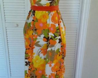 60s / 1960s Orange & Green Floral Print Maxi Dress