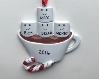 4 Family Marshmallow Personalized Christmas Ornaments / Family of Four Ornament / Hot Chocolate Family Ornament