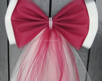 Tulle Pew Bow | Many Colors | Optional Silver or Gold Bling | Wedding Ceremony Party | Church Aisle Chair | Bridal Shower | Baby Girl Boy