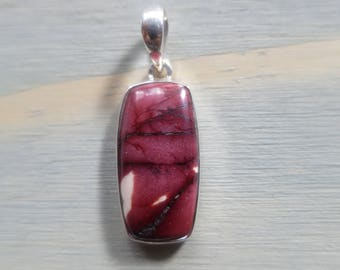 Small Rectangle Red Mookite Jasper pendant in Sterling Silver