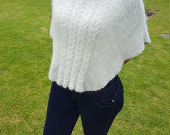 Alpaca Poncho (small) made from 100% Alpaca Wool Turtleneck White made in Ecuador