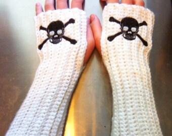 SKULL Arm warmers / Fingerless gloves / Wrist warmers handmade