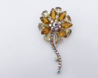 Dimensional Flower brooch citrine and honey amber rhinestones AL82