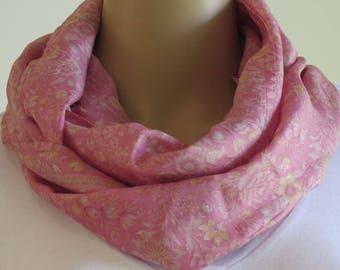 Pink Infinity Scarf, Silk Scarf