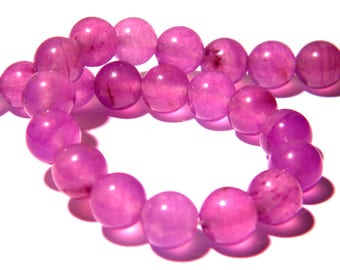 24 pearls jade natural 8 mm - lilac translucent - gem stone - PG168