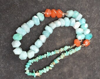 Chunky Amazonite and Orange Jade Wire Wrapped Necklace     Statement Necklace  Colorblock Jewelry originally 212 dollars now 170 spring sale