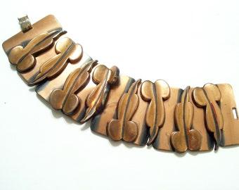 Renoir Bracelet, Vintage RENOIR Copper Wide LEAF Link Bracelet, Copper Leaf Bracelet, Mid Century Copper Bracelet, The Copper Cat