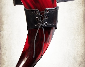 Viking Syf Drinking Horn leather Holder for LARP, action roleplaying and cosplay