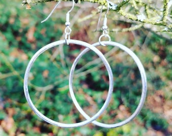 Simple Sterling Silver Hoops * 925 Sterling Silver * Hoop Earrings * Simple Earrings * Rustic * Handmade