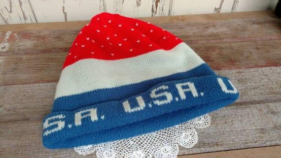 Vintage Unisex Knit USA Winter Beanie Retro Patriotic 69de64255f1