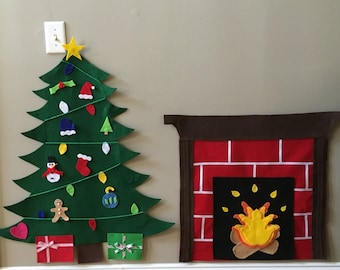 Felt Christmas Tree with gifts and Fireplace