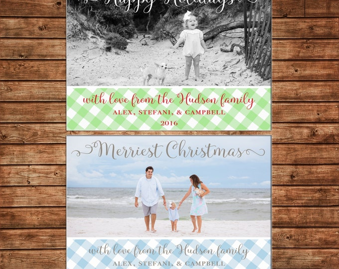 Photo Picture Christmas Holiday Card Gingham Buffalo Check Preppy Southern - Digital File