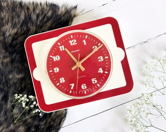 Vintage Wall Clock Staider Red with White Retro