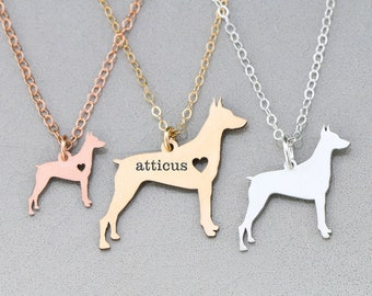 Doberman Necklace • Doberman Dog Pendant • Pinscher Dog Breed • Pet Loss • Dog Rescue • Gold Pet Pendant Gold Dog Rose Gold Charm