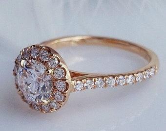 Round cut rose gold halo set engagement ring
