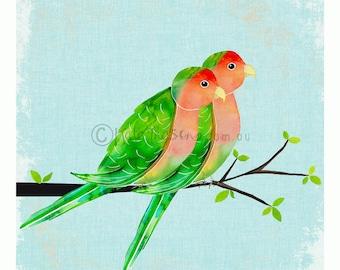 Peach Faced Love Birds ART PRINT Australian Bird Series