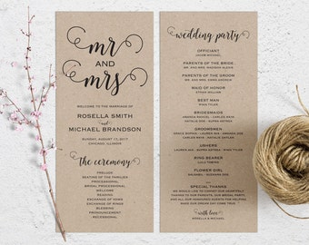 Rustic Wedding Program Template, Wedding Ceremony Program, Printable Programs, Kraft Wedding Program, fan, PDF Instant Download, WPC_252