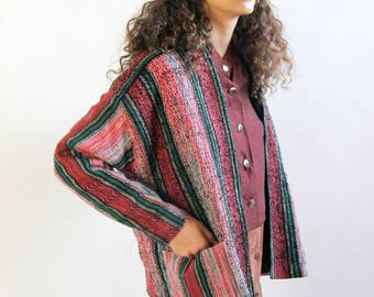 woven dreams -- vintage 80's woven jacket with large pockets S/M