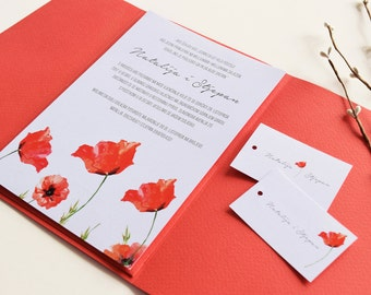 Red Poppy | Floral Wedding Invitation | Botanical, Wild Flowers | Watercolor