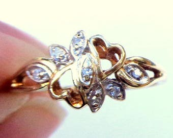 SIZE 6, 10K Yellow Gold, Diamond Heart Ring, Pomise Ring, Engagement Ring, White Diamonds, Promise Ring, Engagement