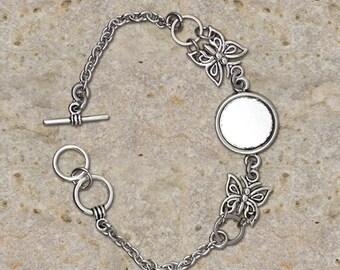 Bracelet holder round cabochon 14 mm, butterfly