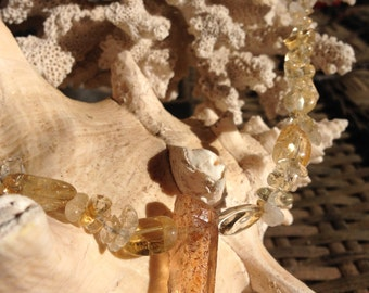 Citrine with Amber Focal Necklace with Clasp