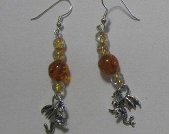 Dragon Beaded Dangle Earrings