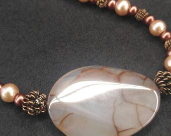 Dragon's Vein Agate necklace set with copper wire and glass pearls